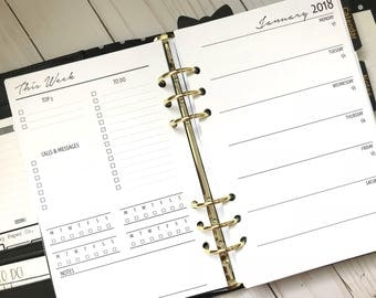 Week On 1 Page With Lists Planner Inserts   Half Letter Size For A5 Planners   WO1P