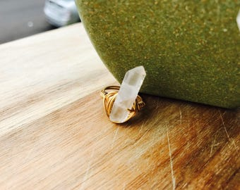 ON SALE: Raw Quartz Hippie Ring