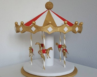Carousel Cake topper / centerpiece - red, white gold