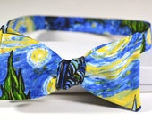 Van Gogh Bow Tie - Starry Night Bow Tie - Self Tie Bowtie - Gifts for Art Lovers - Vincent Van Gogh - Trendy Bow Tie - Gifts for Dad