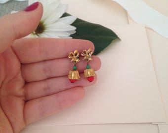 Christmas Bell Earrings - Holiday Earrings - Red Green Gold Earrings - Festive Earrings - Bells - Christmas Bells
