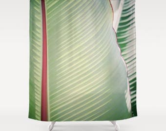botanical shower curtain, green shower curtain, tropical bath, tropical decor, tropical shower curtain, boho, elegant bath, green decor,