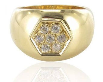 Ring band wide diamonds gold