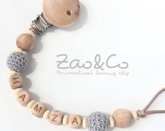 Dummy clip pacifier chain soother holder natural organic crochet wood custom name personalised beads beech maple baby newborn shower gift