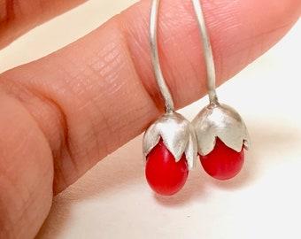 Coral & Silver Flora earrings