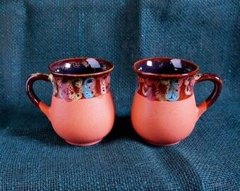Fall gift ideas for mom Orange ceramic tea mugs Set of 2 cups Pottery mug Ceramic mugs Anniversary gift Coffee mug Tea mug One of king