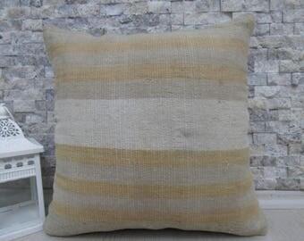 Old Embroidery Turkish Kilim Pillow 16x16 Handmade Pillows Rustic Pillow Turkey Kilim Pillow Cover 16x16 Nomadic Pillow Throw Pillow