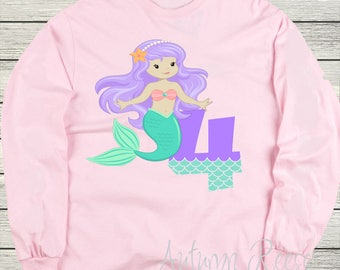 Girls Mermaid Personalized Birthday Shirt Customized Monogrammed
