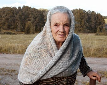 Warm winter snood scarf / Boho blanket scarf for fall / Versatile wrap shawl with hood / Mother of bride wrap shawl - Rasa