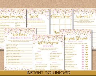 Bridal Shower Games Bundle, 7 Popular Games, Pink and Gold Confetti, Bridal or Wedding shower, Instant Download, Printable Games