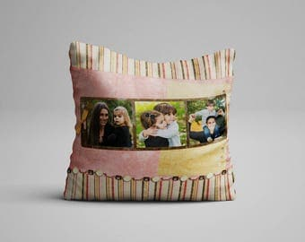 Vintage Style Photo Frame On A Pillow Retro Look Red Rose Brick Color Photo On A Pillow With Photo Pillow Throw Photo Cushion Picture Pillow
