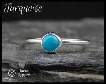 Size 6 ready to ship! Sleeping Beauty Turquoise ring. Skinny sterling silver ring, hammered. Thin, stacking ring. December birthstone. 202