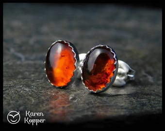 Amber cabochon earrings, 8x6 mm, in a sterling silver bezel, handmade. Stud earrings. Post earrings.  123