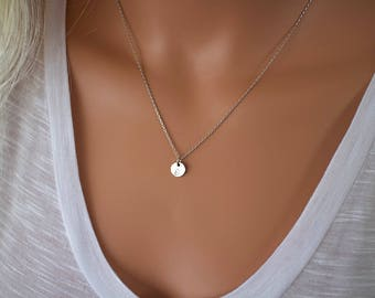 Dainty Initial Necklace, Small Disc Tags in Silver, Gold Tone