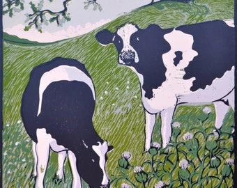 Cows lino print