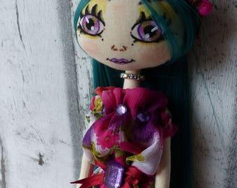Aurora doll rag (rag doll, handmade doll ooak doll art doll)
