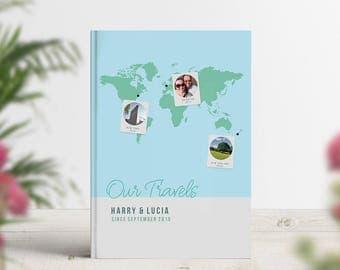 Photo Travel Journal, Our Travels Notebook, Personalised Photobook, Traveller Gift, Wanderlust, Adventure Map, Explore, Bucket List Book