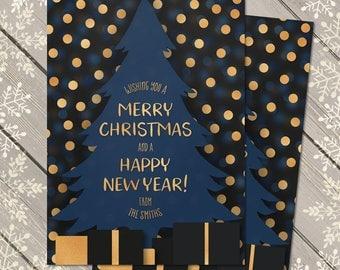 Family Christmas Card, Modern Christmas Card, Personalised Xmas Card, Blue Gold Christmas Card, Unique Christmas Card, Festive, Holidays