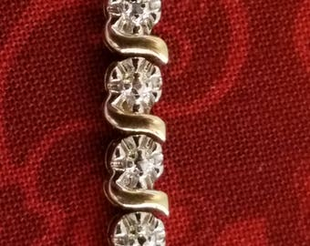 """BR-030: 11.9g Vintage Solid Silver Hinged 7"""" Sterling Tennis Bracelet with Attached Heart Pendant and Genuine Diamonds"""