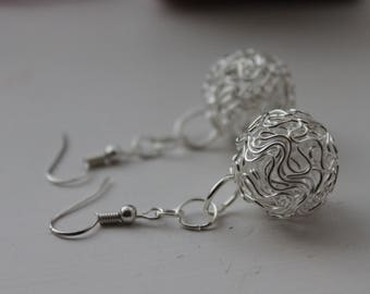 Wrapped wire earrings, silver wire ball earrings, wire balls, filagree, wrapped wire, silver jewellery, wrapped wire earrings, Emma Amies
