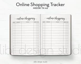 A6 TN, Online Shopping Tracker, Midori A6, Shopping Planner, Travelers Notebook, Midori Inserts, Online Order, TN Inserts, Midori, List