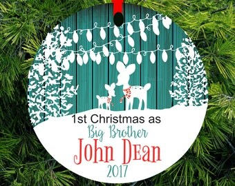 2017 Christmas Ornament Big Brother Little Brother Personalized First Christmas as Big sister Fawn Ornament Big Sister Gift