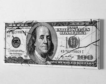 Money Art - 100 Dollar Bill Canvas - 100 Dollar Bill Marble Canvas - Ready to hang canvas print