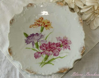 Silesien, Germany: Square plate with flowers