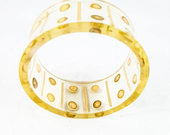 Hand Painted Clear Lucite Bangle with Gold