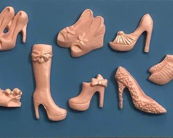 16 Mini High Heel Shoes, Fondant Cupcake Toppers, Fashion Shoes,  Stiletto Fondant Shoes (FREE SHIPPING)