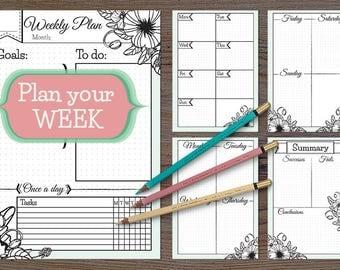Printable Weekly Planner for bullet journal, printable week planner, weekly planner inserts, bullet journal printable pages, week on 5 pages