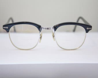 Shuron 1950s Eyeglasses / w gold filled /USA 1950's / Metal Combo/Black and White Gold