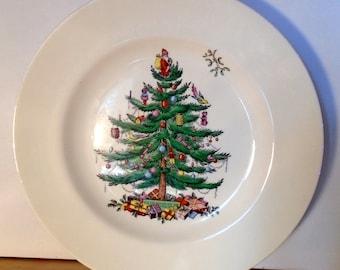 2 Vintage 10.8 dia Christmas tree plates transfer design