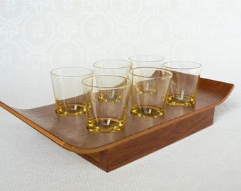 SHOT Glasses & Tray Vintage/ Set of Six  Shot Vodka Glasses on Wooden Tray/ Yellow Color Glass/ Vintage Style Drinks Serving/ Latvia 1970s