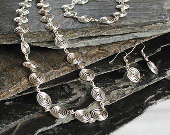 Silver Spiral Jewellery Set, necklace, bracelet and earrings in Fine Silver, jewellery