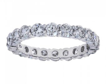 2.10 Carat Round Cut Diamond Eternity Band Ring 14k White Gold