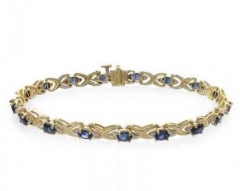 ON SALE 0.20 Carat Diamond and 2.55 Carat Sapphire 14k Yellow Gold Link Bracelet