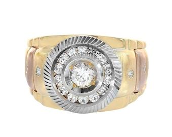 1.00 Carat Round Cut CZ Men's Ring 14K Tri Color Gold
