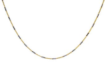 Fancy Link Chain Made In Italy Yellow Gold Over Silver 18""