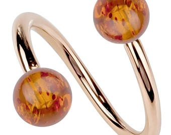 Baltic Amber 14k Rose Gold Twister Spiral Barbell