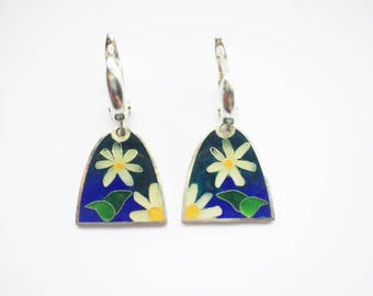 Cloisonne Enamel Earrings, Sterling Silver