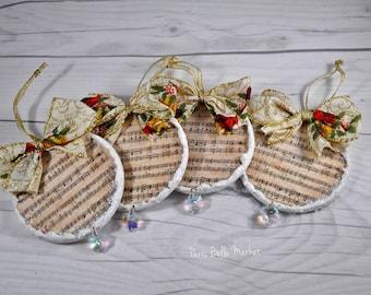 Shabby Chic Christmas Ornaments Musical Sheet Ornaments Joyeux Noel Christmas Decorations French Romantic Holiday Decor