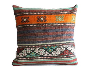 24x24 Kilim Pillow Cover Floor Cushion Large Size Floor Cushion Cover  Interior Designs Turkish Rug Pillow