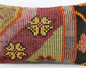 Red Green Color Kilim Pillow Yellow Patterned Kilim Pillow 16x24 Embroidered Lumbar Kilim Pillow Boho Pillow Throw Pillow  SP4060-635