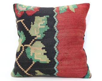 20x20 Large Kilim Pillow Boho Pillow Red Black Color Kilim Pillow 20x20 Handwoven Kilim Pillow Sofa Pillow Cushion Cover  SP5050-1787