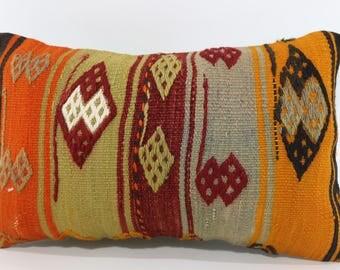 Handwoven Kilim Pillow Sofa Pillow Naturel Kilim Pillow 12x20 Lumbar Kilim Pillow Bohemian Kilim Pillow Cushion Cover SP3050-1398
