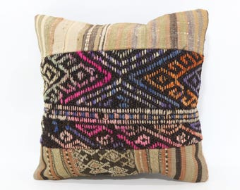 16x16 Embroidered Kilim Pillow Striped Kilim Pillow 16x16 Turkish Kilim Pillow Handwoven Kilim Pillow Cushion Cover  SP4040