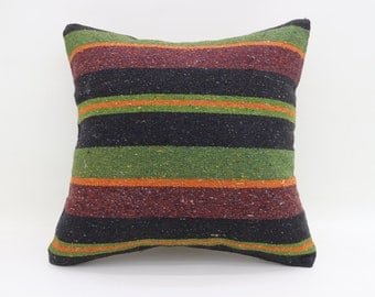 20x20 Pillow Cover Black and Green Pillows Home Decor İndoor Turkish Kilim Pillows Big Throw Pillows Large Cushion Cover Pillows SP5050-2577