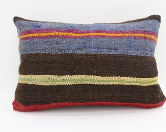 16x24 Kilim Pillow Striped Kilim Pillow Blue Pillow 16x24 Multicolor Kilim Pillow Yellow and Red Pillow Boho Pillow Throw Pillow SP4060-1426