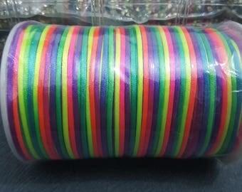 100 meters of yarn viscose multicolor neon 2mm in diameter and shamballa Rainbow creations